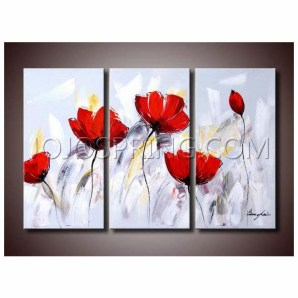 Red Flower 281 3-piece Gallery-wrapped Canvas Art Set